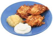 Latkes with sour cream and apple sauce, just like Mama used to make